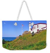 Lobster Cove Lighthouse With Blue Sky In Gros Morne Np-nl Weekender Tote Bag