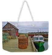 Lobster Fishing Baskets And Boats By A Dock In Forillon Np-qc Weekender Tote Bag