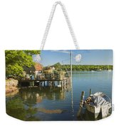 Lobster Traps On Pier In Round Pound On The Coast Of Maine Weekender Tote Bag