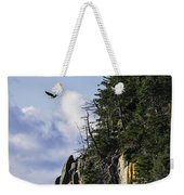 Lofty Bald Eagle Surveys Maines Bold Coast Weekender Tote Bag