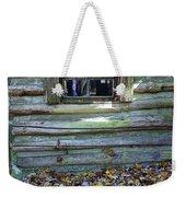Log Cabin Window And Fall Leaves Weekender Tote Bag