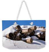 Log Pile In A Snow Drift In Winter Weekender Tote Bag
