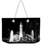 Logan Square Fountain At Night In Black And White Weekender Tote Bag