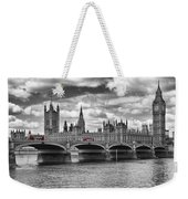 London - Houses Of Parliament And Red Buses Weekender Tote Bag by Melanie Viola