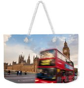 London The Uk Red Bus In Motion And Big Ben Weekender Tote Bag