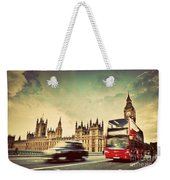 London The Uk Red Bus Taxi Cab In Motion And Big Ben Weekender Tote Bag