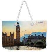 London Uk Big Ben The Palace Of Westminster At Sunset Weekender Tote Bag