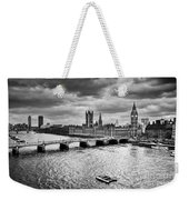 London Uk Big Ben The Palace Of Westminster In Black And White Weekender Tote Bag