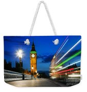 London Uk Red Bus In Motion And Big Ben At Night Weekender Tote Bag
