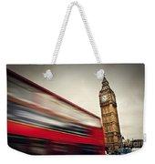 London Uk Red Bus In Motion And Big Ben Weekender Tote Bag