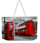 London Uk Red Phone Booth And Red Bus In Motion Weekender Tote Bag