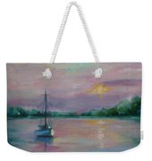 Lone Boat At Sunset Weekender Tote Bag