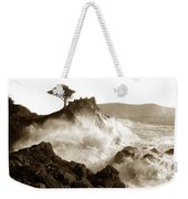 Lone Cypress Tree On  Midway Point Pebble Beach California Circa 1916 Weekender Tote Bag