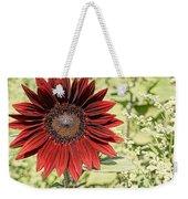 Lone Red Sunflower Weekender Tote Bag