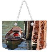 Lonely Boat In Venice Weekender Tote Bag