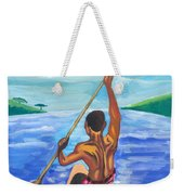 Lonely Boatman In Rwanda Weekender Tote Bag