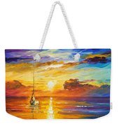 Lonely Sea 2 - Palette Knife Oil Painting On Canvas By Leonid Afremov Weekender Tote Bag