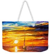 Lonely Sea 3 - Palette Knife Oil Painting On Canvas By Leonid Afremov Weekender Tote Bag