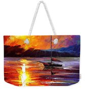 Lonely Yacht - Palette Knife Oil Painting On Canvas By Leonid Afremov Weekender Tote Bag