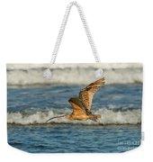 Long-billed Curlew Flying Over The Surf Weekender Tote Bag