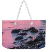 Long Exsposure Of Rocks And Waves At Sunset Maine Weekender Tote Bag