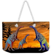Long Necked Long Tailed Family Of Dinosaurs At Sunset Weekender Tote Bag