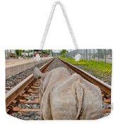 Rhino On A Railway Track Weekender Tote Bag