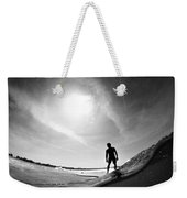 Longboarder Riding A Small Wave Weekender Tote Bag