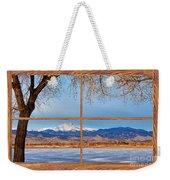 Longs Peak Across The Lake Barn Wood Picture Window Frame View Weekender Tote Bag