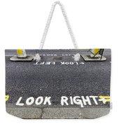 Look Right Warning Weekender Tote Bag