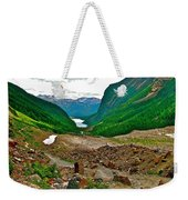 Looking Back To Lake Louise From Trail To Plain Of Six Glaciers In Banff Np-ab  Weekender Tote Bag