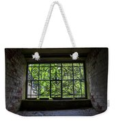 Looking Through Old Basement Window On To Vibrant Green Foliage Fine Art Photography Print  Weekender Tote Bag