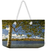Loon Lake In Autumn With White Birch Tree Weekender Tote Bag