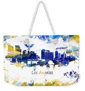 Los Angeles California Skyline Yellow Blue Weekender Tote Bag