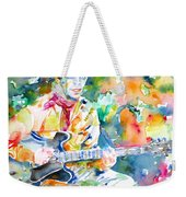 Lou Reed Playing The Guitar - Watercolor Portrait Weekender Tote Bag