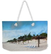Lounge Chairs And Parasol On Pink Sands Weekender Tote Bag