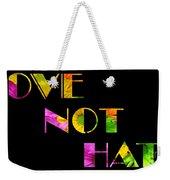 Love Not Hate Crazy Daisies Black Weekender Tote Bag