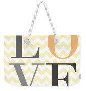 Love On Chevron Peach Weekender Tote Bag