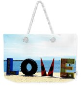 Love On The Beach Found Art Outer Banks Weekender Tote Bag