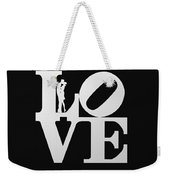 Love Typography And Kissing Couple Weekender Tote Bag
