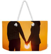 Lovers Holding Hands At Sunset In Silhouette Weekender Tote Bag