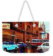 Lovers In The Rain Stroll St Catherine Street Near Morgans Department Store Vintage City Scene Art Weekender Tote Bag