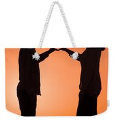 Lovers Making A Heart Shape At Sunset Weekender Tote Bag