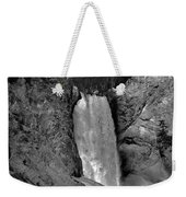 Lower Falls In Yellowstone In Black And White Weekender Tote Bag