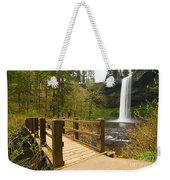 Lower South Waterfall With Footbridge In Oregon Columbia River Gorge. Weekender Tote Bag