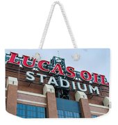 Lucas Oil Stadium Sign Weekender Tote Bag by James Drake