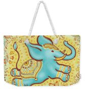 Lucky Elephant Turquoise Weekender Tote Bag