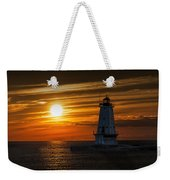 Ludington Pier Lighthead At Sunset Weekender Tote Bag