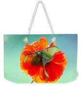 Luna Moth On Poppy Aqua Back Ground Weekender Tote Bag