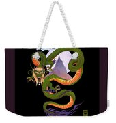 Lunar Chinese Dragon On Black Weekender Tote Bag